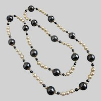 Hematite and Faux Pearls Continuous Strand Necklace, 30""