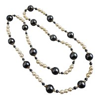 """Hematite and Faux Pearls Continuous Strand Necklace, 30"""""""