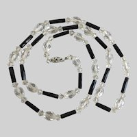 Sweet Vintage Necklace of Clear Crystal and Faceted Black Glass Tubes, 24""