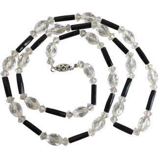 Sweet Vintage Necklace of Clear Crystal and Faceted Black Glass, 24""