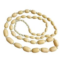 """Long Vintage Necklace of Graduated Bone and Glass Beads, 49"""""""
