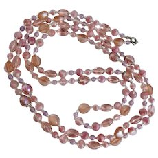 Peachy Pink Glass  Flapper Style Necklace,  56 Inches