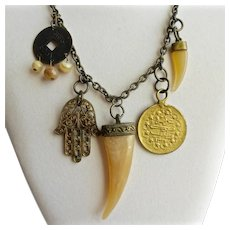 Funky Vintage Talisman and Lucky Charm Necklace