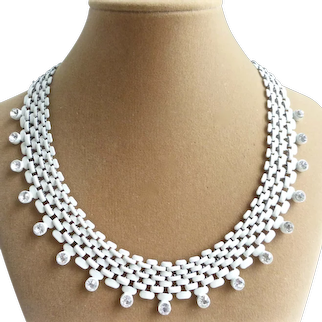 """Vintage White Enamel Metal Mesh Necklace with Crystal Drops, 18"""""""