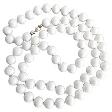 """MONET Shiny White Opaque Glass  Knotted Necklace, 30"""""""