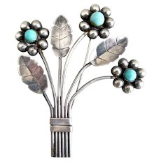 Large Early Mexican Vintage Stunning Sterling Silver Brooch, 1930s