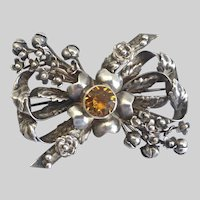Hobe Signed Vintage Sterling Silver Bow Brooch Pin, with Buds and Flowers, 1940s