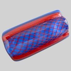 Deep Periwinkle Blue and Red Rectangular Art Glass Brooch/Pin