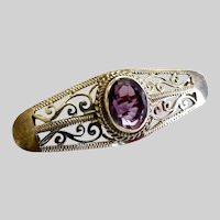 Art Deco Sterling Silver Filigree Brooch Pin with Amethyst Center Stone