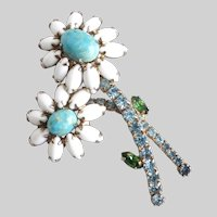 WEISS  Double Daisy White Milk Glass and Faux Turquoise Brooch Pin