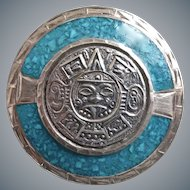 """Sterling Silver and Turquoise Mexican Aztec """"Sun Stone"""" Brooch/Pendant"""