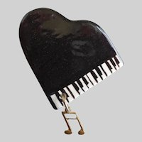 Handcrafted Shiny Grand Piano Brooch Pin