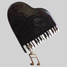 Handcrafted Shiny Grand Piano Brooch Pin
