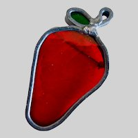 Vintage Stained Glass Strawberry Brooch Pin