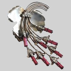 Exquisite Sterling Silver Brooch Pin of Cascading Floral Baguette Rhinestones