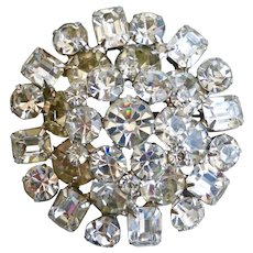 Large Domed Brooch Pin of Clear Sparkling Rhinestones