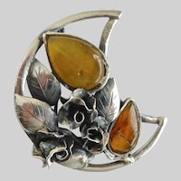Artisan Crafted Vintage Sterling Silver and Amber Brooch Pin