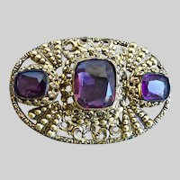Vintage Oval Filigree Czech Deco Era Amethyst Glass Brooch Pin
