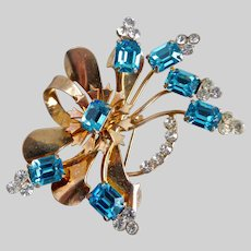 Floral Brooch Pin Rose Gold Color with Aqua Crystals