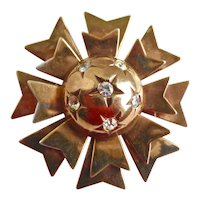 Sterling Silver Atomic Age Brooch Pin with Gold Wash Signed Ernest Steiner