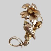 Retro CARL ART Floral Brooch Pin, Gold Filled on Sterling Silver