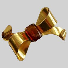 CORO Retro Sterling Silver Gold Plate Bow Brooch, 22.6 g
