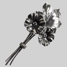 Sterling Silver Vintage Double Flowers with Leaf Brooch Pin, 13.6g