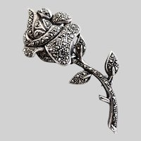 Vintage Sterling Silver and Marcasite Rose Brooch