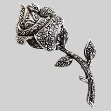 Vintage Sterling Silver and Marcasite Rose Brooch
