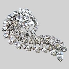 Vintage WEISS Paisley Design Clear Rhinestone Brooch / Pin