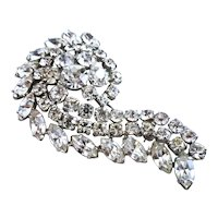 Vintage WEISS Paisley Design  Flawlessly Clear Rhinestone Brooch / Pin