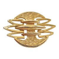 Cool CORO Mid Century Brutalist Gold Tone Brooch Pin