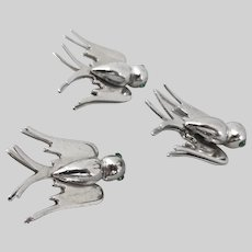 Three Silver tone Birds Scatter Pins with Clutches