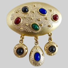 Gold tone Brooch Pin with Faux Gemstone Drops
