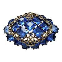 Vintage Czech Sapphire Blue Crystal Brooch Pin