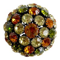 Joseph WARNER Japanned High Dome Brooch Pin in Jonquil, Olive and Amber Colors