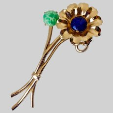 Long and Lovely Gold Tone Flower  Brooch/Pin with Blue and Green Art Glass Cabochons