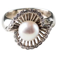 Akoya Cultured Pearl and Diamond Custom-Made Vintage Ring