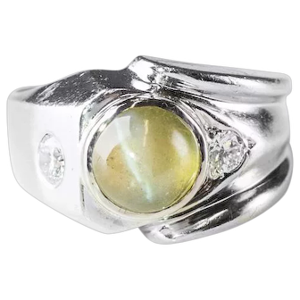 Gent's Cat's Eye Chrysoberyl Ring in 14k White Gold with Diamonds