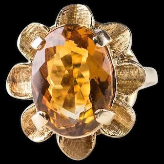 Vintage 1960's 4 Carat Oval Citrine Sunflower Ring with Florentine Finish Petals