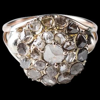 Georgian Rough Rose Cut Diamond Ring. 24 Champagne Old Cut Diamonds in 14k Gold