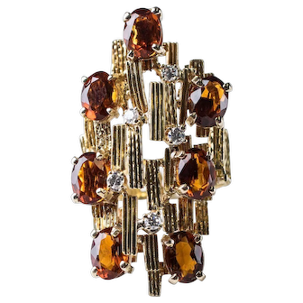 Brutalist Madeira Citrines in 18k Gold with Diamonds. Retro, Mid-Century Masterpiece