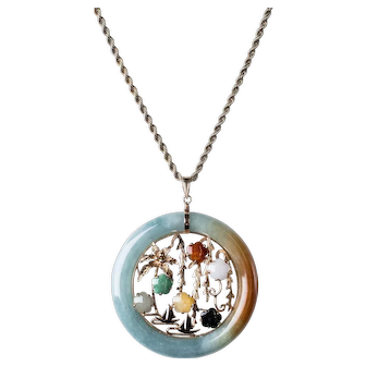 """Vintage Jadeite Hololith Pendant with Jungle and Ship Scenery on 25"""", Solid 14K Chain"""