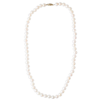 """Vintage Japanese Akoya Cultured Matched Pearl Strand Princess Length, 17"""", 6.5mm Pearls From Japan."""