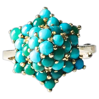 Star Shaped Vintage Turquoise Princess Ring in 18k Gold