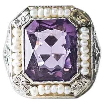 Antique Amethyst and Seed Pearls Detailed Filigree in 14k White Gold