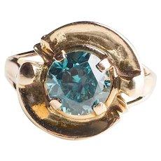 Vintage Blue Zircon Ring in 14k Yellow Gold Modernist Setting