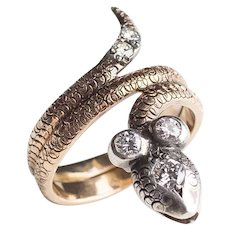 Antique Cobra Snake Ring with Diamonds on Head and Tail