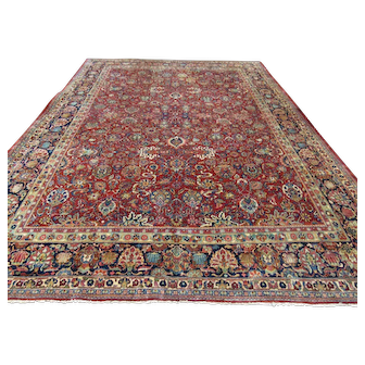 Unique antique Persian Sarouk Rug-3497