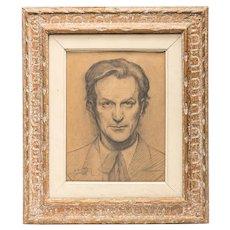Handsome Man Portrait, pencil on paper, signed F.D. Aules 1936